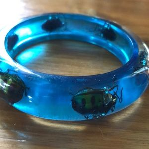 Blue scarab lucite bracelet